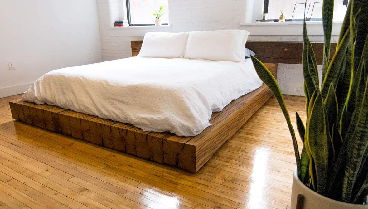 reclaimed oak beam bed