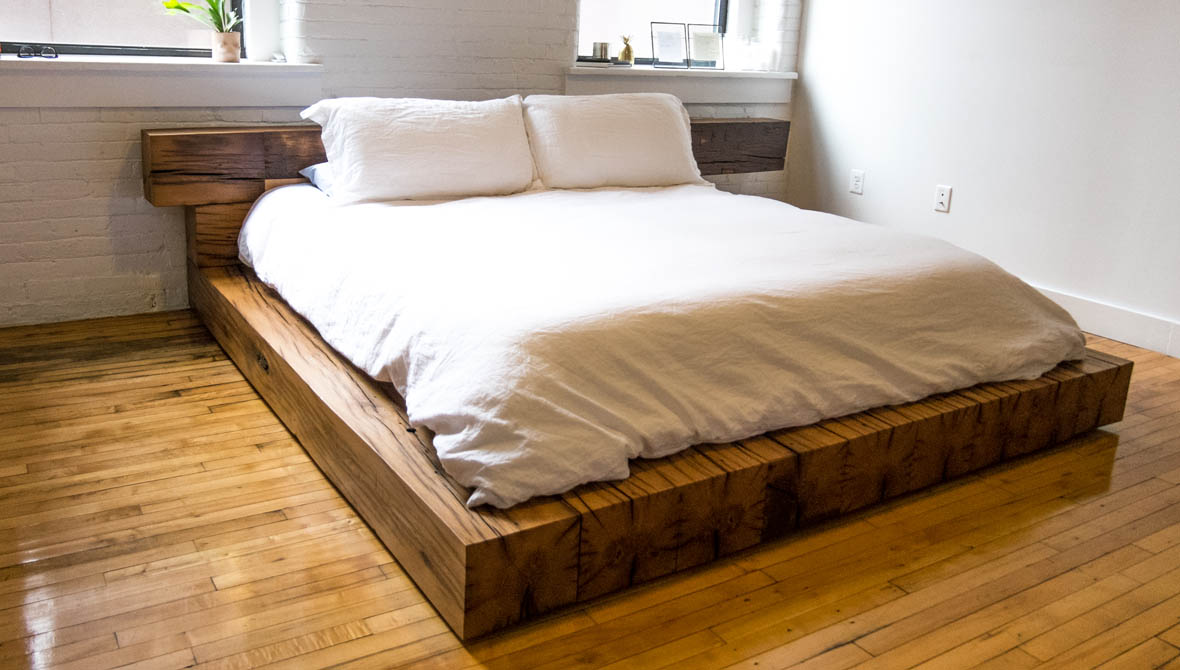 Oak beam bed