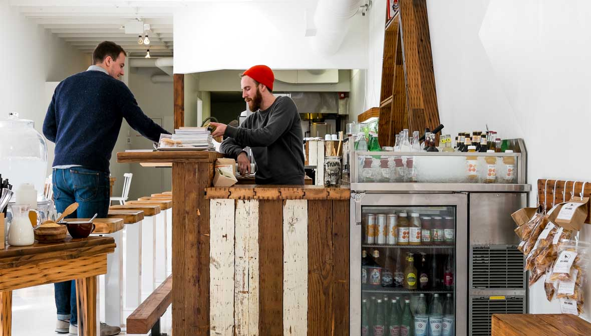 a cafe in cincinnati made of reclaimed wood - Cheapside Cafe